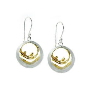 Two Tones Handmade Double Hoop Dangle Sterling Silver Earrings