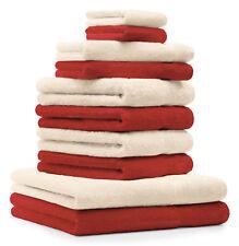 10-tlg. Handtuch Set Classic - Premium, Farbe: Rot & Beige, 2 Seiftücher 30x30,