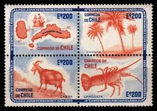CHILE 1974-Map, Palm Tree, Mountain Goat, Spiny lobster, Block of 4-MNH