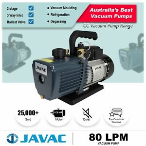 Vacuum Pump - JAVAC Dual Stage 80lpm - 3 Way Inlet, 15 micron for Refrigeration