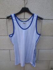 Débardeur Maillot ADIDAS vintage années 80 trikot camiseta jersey shirt blanc S
