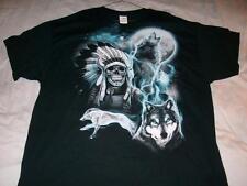 Indian Chief Skull Timberwolves Halloween Black Gildan T-shirt Men's 3XL NWOT