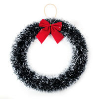 Christmas Hanging Door Wreath Snow Garland Holly Berries Xmas Decoration Red Bow