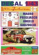 DECAL 1/43 LANCIA FULVIA HF M.PREGLIASCO R.SANREMO 1973 7th (01)