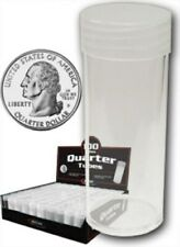 Lot of 20 BCW Round Clear Plastic Quarter Coin Tubes w/ Screw-On Cap