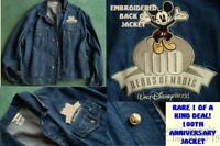 NEW EMBROIDERED WALT DISNEY WORLD 100 ANNIVERSARY MICKEY MOUSE DENIM JACKET-S=L