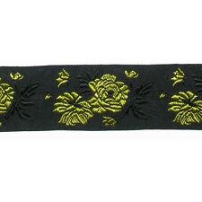 "1.1/4"" (32mm) Yellow Roses on Black Jacquard Ribbon x 1 yard"