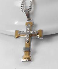 Zilar  Kreuz 45 cm bicolor gold und silber Halskette Edelstahl 304