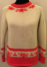 Vintage Made In British Crown Colony Womens Pullover Sweater Small Beige Wool