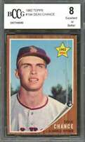 Dean Chance Rookie Card 1962 Topps #194 Los Angeles Angels BGS BCCG 8
