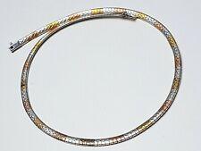 Flaches Schlangen-Collier 925 Silber Trinke-Color Rot-Weiß-Gelbvergoldet - A 235