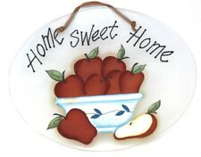 "Shabby Chic Hand Painted Apples  ""Home Sweet Home"" Frosted Glass Sign 12""W 10""H"