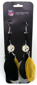 Pittsburgh Steelers NFL Football Dangle Earrings Logo with Feathers