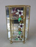 "Vintage Flower Motif Brass Glass Curio Display Case Cabinet 3 Tier 9.5"" Tall"
