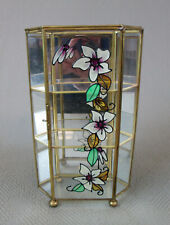 "Vintage Flower Motif Brass Glass Curio Display Case Cabinet 3 Tier 9.5"" Tall"