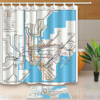 "New York Subway Map Shower Curtain Bathroom Waterproof Fabric & 12 Hooks 71""x71"""