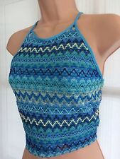 BNWT NEW LOOK 12 blue crotchet halter neck crop vest party top