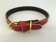 Dog Collar Genuine Soft Strong Leather 3 Sizes 5 Colours Brass Coloured Buckle
