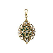 Chloe and Isabel Tresors Pearl & Emerald Ornate Pendant Charm NEW