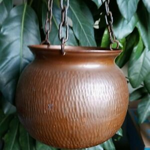 Vintage Hammered Solid Copper Planter Pot Hanging With 3 Chains Signed Columbia