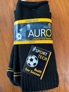 NWT AURO Gold Toe Brand SPORT TECH Boys Socks Built For Soccer Shoe Sz 9 -2 1/2