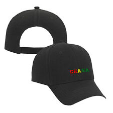 GHANA COUNTRY Embroidery Embroidered Adjustable Hat Cap Black