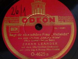 Zarah Leander SAGT DIR EINE SCHÖNE FRAU / FATME Odoen Schellackplatte 78rpm FILM