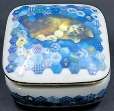 1990 San Francisco Music Box Tabby Cat on Blue Quilt You Are My Sunshine Song