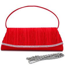 Dasein Pleated Evening Clutch Crossbody Bag Handbag Red Purse w/ Rhinestone