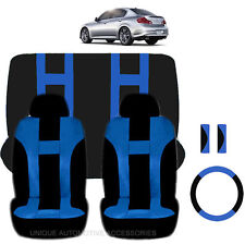 BLUE & BLACK POLY AIRBAG READY SEAT COVERS STEERING COMBO 9PC SET FOR CARS 2223