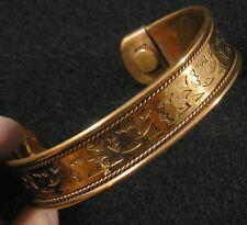 "Copper Cuff Cutout Bangle Bracelet Magnetic Magnets 2 3/4"" x 2 1/8"" x 5/8"" Large"