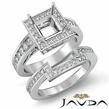 Diamond Engagement Bridal Setting Ring 18k Gold White Princess Semi Mount 1.4Ct