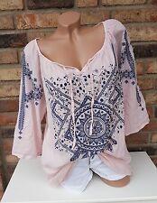 Tunika Bluse Shirt Ethno oversize Hippie Boho rosa Ibiza 42 44 46 Baumwolle £