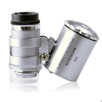 60X Handheld Mini Pocket Microscope Loupe Jeweler Magnifier With LED UV Light