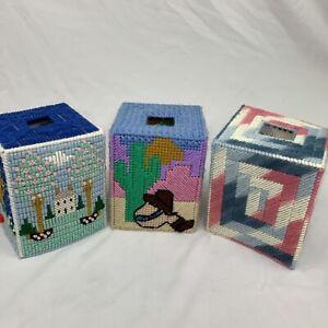 Lot Of 3 Vintage Square Kleenex Tissue Box Cover Handmade Yarn Stich Cottagecore