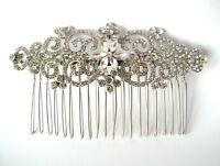 Wedding Vintage Antique Silver Hair Comb Accessories Bridal Crystal Slide Clip