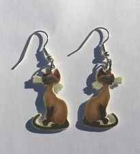 Cat Earrings Siamese Cats Charms
