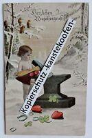 Farb-Litho AK - Postkarte - 1. WK - Neujahrsgruß - Kind am Amboss - um 1915 (S08