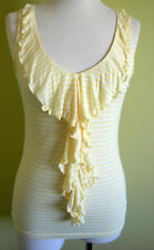 Ladies Womens Sleeveless Tank Top Cami Blouse Lemon Ruffle Front Temt Size M 10