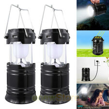 2x Solar/Rechargeable LED Camping Lantern Collapsible Flashlight Portable Lamp