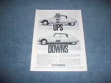 "1961 Citroen DS Vintage Ad ""This Car Has its Ups and Downs"""