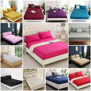 Extra Deep 30cm Fitted Sheets Bed Single Double Super King Size POLY Cotton