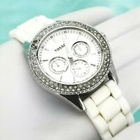 FOSSIL Stella 3 Dial Watch Crystal Bezel 5 ATM Rubber white Band Multi Function