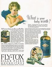 1920's BIG Old Vintage Fly-Tox Fly Spray Bottle Andrew Loomis Baby Art Print Ad
