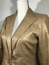 Wilsons Leather Pelle Studio Womens Jacket Extra Small ES Gold Croc Embossed G
