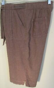 IB Diffusion Chocolate Brown Linen Stretch Bermuda Shorts Size Small Women's EUC