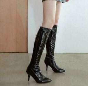 Pointy Toe Side Zip Stiletto High Heels Knee High Boots Winter Shoes Sz Womens