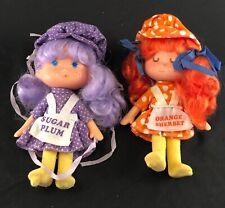 5.5 Inch Tall Sugar Plum And Orange Sherbet Cloth Dolls Vintage