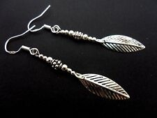 A PAIR OF TIBETAN SILVER LEAF EARRINGS WITH 925 SOLID SILVER HOOKS. NEW..
