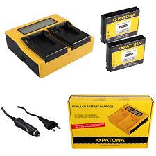 2x Batteria Patona + caricabatteria rapido DUAL LCD per GoPro HD HERO NAKED